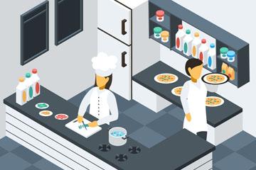 立体餐厅厨房内部设计矢量素材