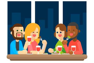 扁平化聚餐的4个人物矢量梦之城娱乐