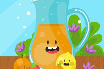 卡通橙汁和4个水果矢量素材