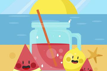 卡通沙滩上的果汁和水果矢量素材