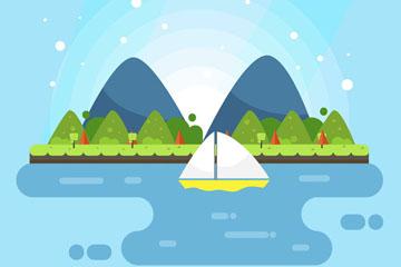 创意河流上的帆船风景矢量素材