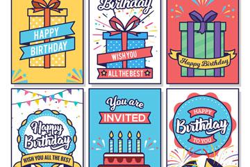 6款彩色生日快乐卡片矢量素材