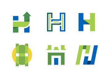 9款创意大写字母h标志矢量图
