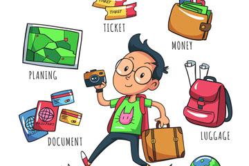 卡通旅游男子和6款旅行元素矢量图