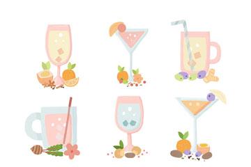 9款粉色夏季鸡尾酒矢量素材
