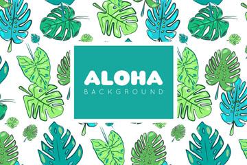 彩绘夏威夷树叶无缝背景矢量素材