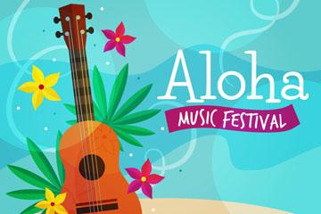 彩色夏威夷吉他和花卉矢量素材