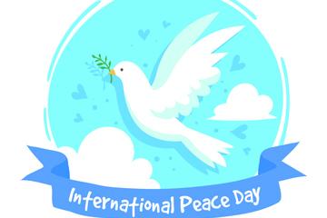 创意国际和平日白鸽矢量素材