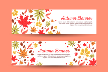 3款创意秋季树叶banner矢量素材