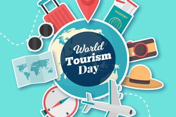 创意世界旅游日地球贴纸矢量素材