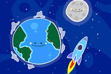 彩绘笑脸地球和火箭矢量素材