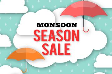 创意雨季促销海报矢量素材