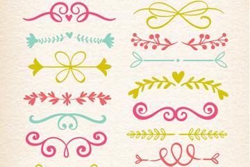 15款手绘花纹花边矢量素材