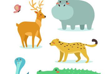 6款卡通野生动物矢量素材
