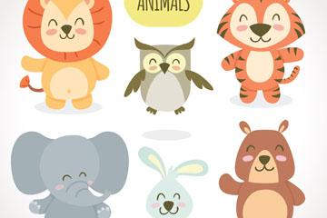 6款可爱微笑动物矢量素材