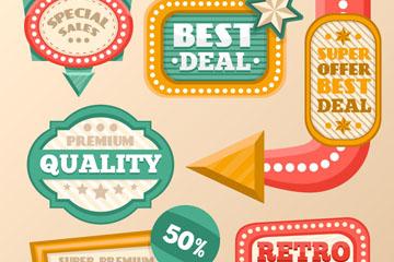 6款复古促销指示牌设计矢量图
