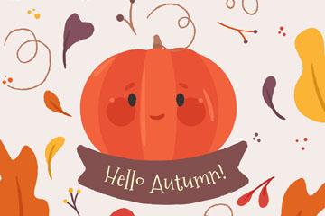 彩绘秋季可爱表情南瓜矢量素材