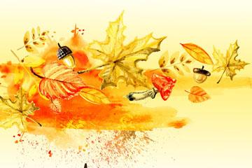 水彩绘秋季树叶和蘑菇矢量素材