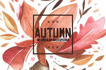 水彩绘秋季落叶矢量素材