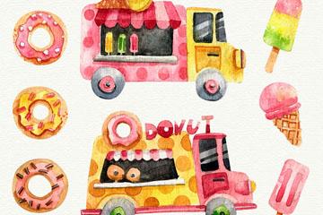 2款水彩绘流动甜品车和6款甜点矢量图