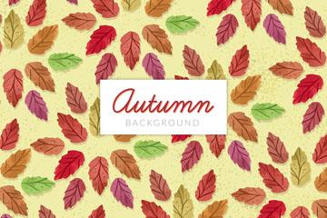 彩绘秋季树叶无缝背景矢量素材