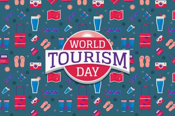 创意世界旅游日无缝背景矢量素材