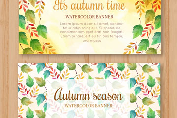 2款水彩绘秋季树叶banner矢量图