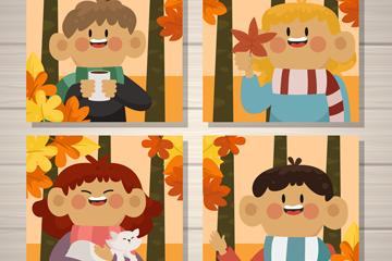 4款卡通秋季人物卡片矢量梦之城娱乐