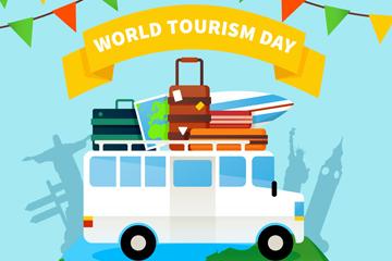 创意世界旅游日度假车矢量素材
