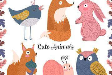 6款彩绘动物设计矢量素材