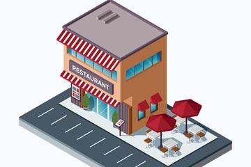 立体餐馆建筑设计矢量素材