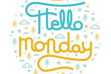 创意你好星期一艺术字矢量图