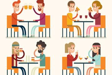 4组创意餐厅用餐的人物矢量图