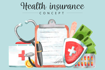 水彩绘医疗保险元素矢量图