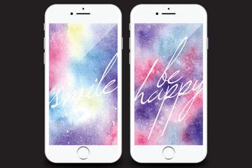 2款彩色手机壁纸设计矢量素材