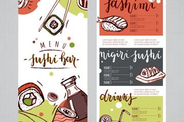 彩绘日本餐馆菜单正反面矢量素材