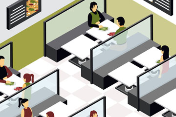 创意整洁餐馆内部设计矢量图