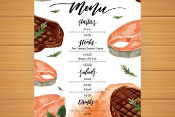 水彩绘西餐厅菜单设计矢量素材