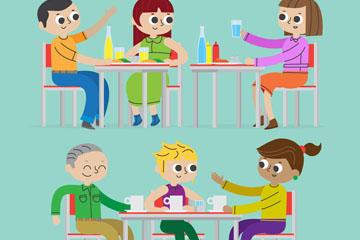 2组创意卡通聚餐人物矢量素材