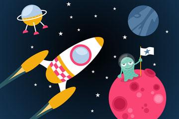 创意太空中的星球和火箭矢量图