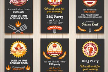 6款创意烧烤派对邀请卡片矢量图