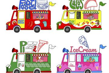 4款彩绘流动快餐车矢量素材