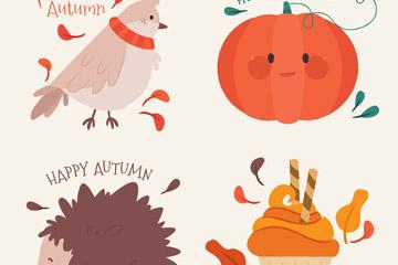 4款彩绘可爱秋季元素矢量素材