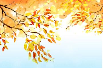 彩绘秋季金色树木树叶矢量素材