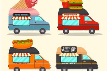 4款卡通快餐车设计矢量素材