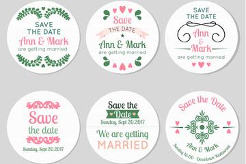 6款圆形婚礼标签矢量素材