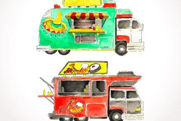 2款彩绘快餐车设计矢量素材