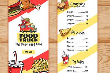 创意快餐车菜单正反面矢量素材