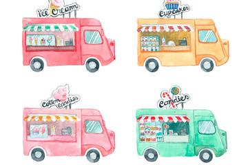 4款彩绘流动快餐车设计矢量素材