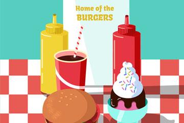 卡通餐桌上的汉堡包套餐矢量素材